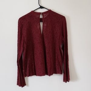 American Eagle Outfitters Tops - AEO Maroon Lace Choker Key Hole Top